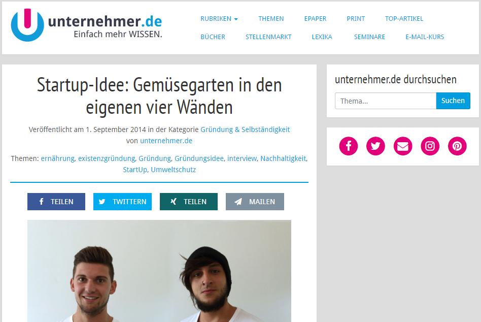 Startup Interview mit GreenYou Zimmergewächshaus auf unternehmer.de